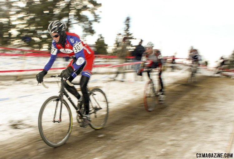 Don Myrah led before Pete Webber took over in the battle of mountain bike legedns. © Cyclocross Magazine