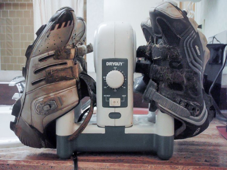 The DryGuy portable shoe dryer can give you dry shoes for a second day of racing.