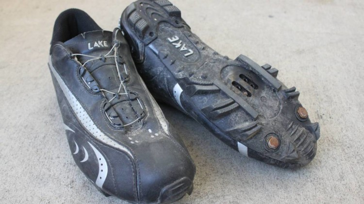 The Lake MX170 look a bit like soccer cleats, and with studs, can be equally as grippy on the run-ups. Lake MX170 cyclocross shoe. © Cyclocross Magazine