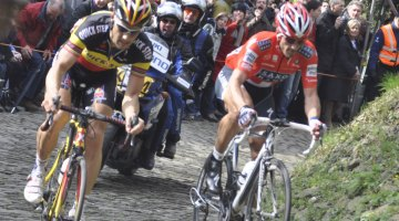 Tom Boonen and Fabian Cancellara, side by side in Flanders. Via flickr by ef2204
