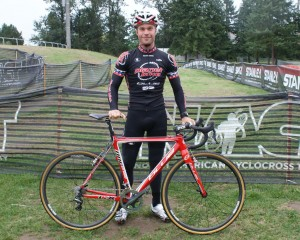 Jonathan Page and his Blue Cycles Norcross bike ready to go. © Cyclocross Magazine