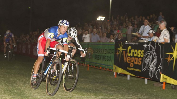 Francis Mourey outkicks Jamey Driscoll for the CrossVegas win. © Larry Rosa Photography