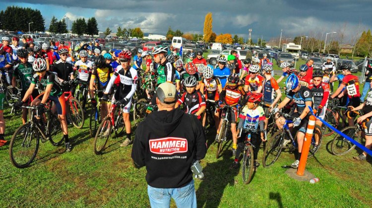 104 Juniors line up for the Hillsboro round of the Oregon Junior & High School Cyclocross Series. Photo by Brent Adams.
