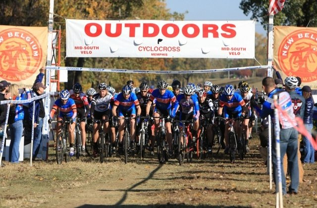 Racers start the Outdoors, Inc. Cyclocross Championship Race. © Rachel Helm