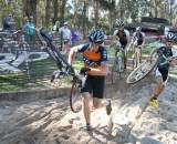 Don Myrah unveils a new technique to keep the HRS / RockLobster team at bay. ©Cyclocross Magazine