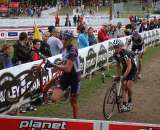 Trebon, Page and Vervecken fight it out at the 2009 Planet Bike Cup. © Amy Dykema