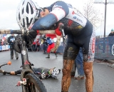 Baker and Stevenson gasp for air after their sprint finish. Cyclocross National Championships. © Cyclocross Magazine