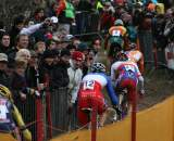 The leaders and fans. Koksijde Elite Men World Cup 11/28/2009 ©Bart Hazen