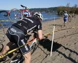 A Lenovo team rider gets hung up trying to ride the sand. by Kenton Berg