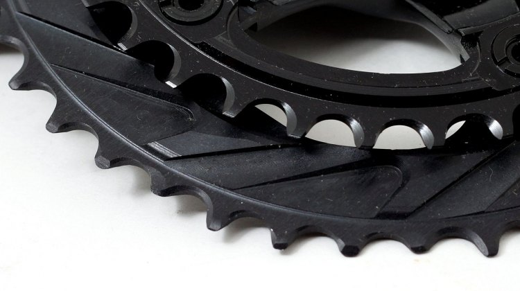 The extensive ramps on the 44t 110 BCD WickWërks cyclocross chainring. © Cyclocross Magazine