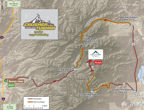 The course features a nearly perfect 50/50 split between pavement and dirt fire-road sectors which allow riders to explore the stunning back country of Utah's little-known Tushar Mountains and Fishlake National Forest.