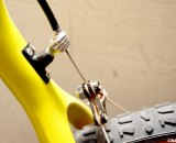 The Ibis Hakkalugi handjob cable hanger shows this is not just any other carbon cyclocross bike. © Cyclocross Magazine
