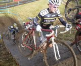 James McCabe leads Austin Jones up the stairs and out of the bowl at Cyclocross Nationals. Photo Courtesy of James McCabe