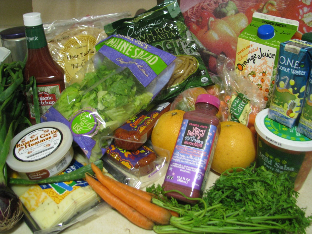 An attempt at healthier eating with a grocery trip To Trader Joes. © Molly Hurford
