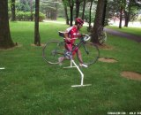 Rutgers Cycling tries out the PVC barriers we built for the Newbie News How To piece. © Molly Hurford