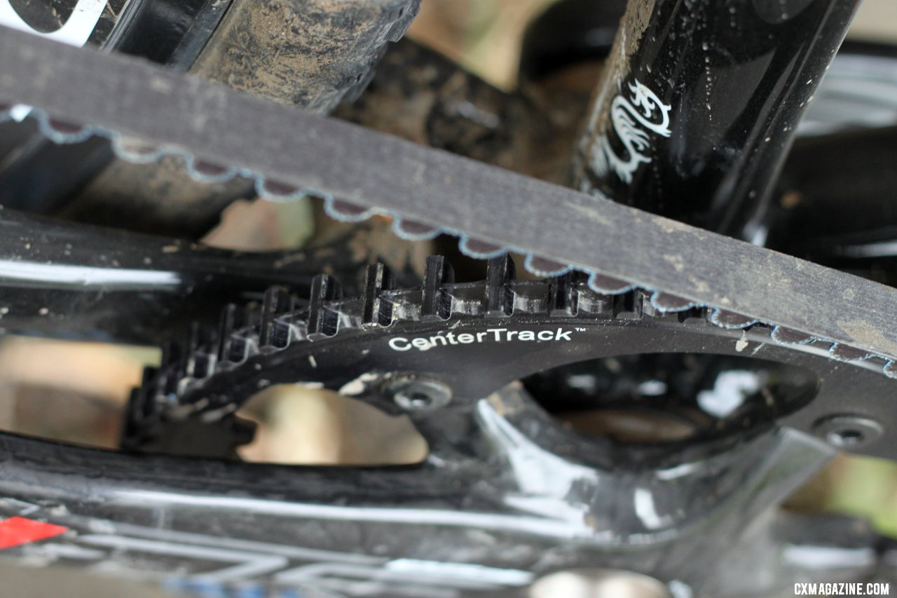 A closeup of the crank and CenterTrack Carbon Belt Drive on a Raleigh carbon singlespeed cyclocross bike. © Cyclocross Magazine