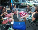 Team Mountain Khakis, pre-pre-race meeting. © Molly Hurford