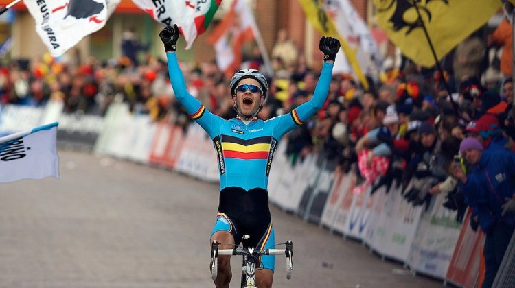 Niels Albert (Belgium) celebrates his victory in the Elite mens's race at the 2009 UCI Cyclocross World Championships.