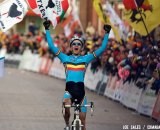 Niels Albert (Belgium) celebrates his victory at the 2009 UCI Cyclocross World Championships.