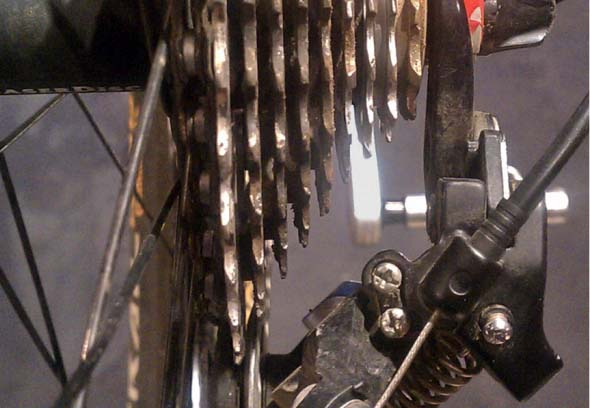 A bent derailleur is easy to miss but can hurt your race results. © Jason Gardner