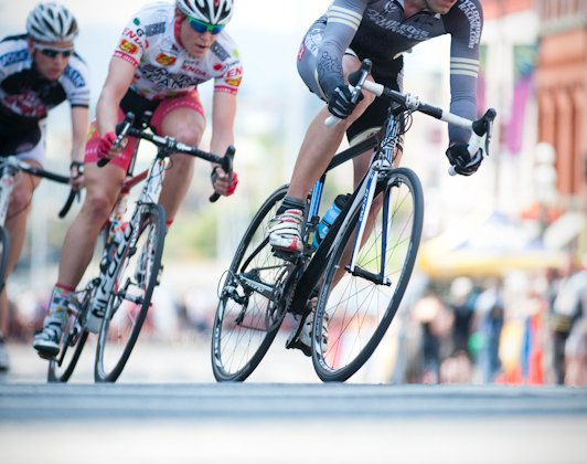 Craig Richey rides at the front of the break in Bastion Square in Victoria, BC