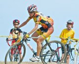 Malissa Petrov is being cheered on by her two cyclocross racing sons, Nick and Spencer