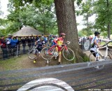 Ian Field makes his way around the natural barriers. Cyclocross Magazine