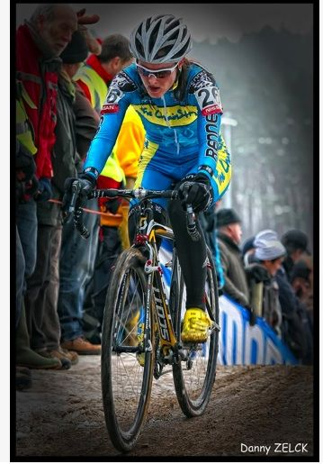 Gabby racing in Belgium on a fan-lined race course. Photo by Danny Zelck, courtesy of Gabby Day