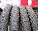 The Vee Rubber tires all have V designs in the name and tread. Here we have the Flying V, Race V, 7 and Rail cyclocross tires come in 700x35c and some in 40c. Interbike 2011. © Cyclocross Magazine