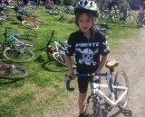 Jacob in the kids race, looking tough and ready. © Faith Hunter