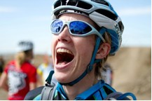 An Ebullient Sarah Maile (Ventana Mountain Bikes) after her Category Win at the Sacramento Cyclocross Series, College Cyclery Compound, West Sacramento