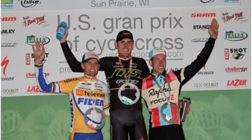 The podium at USGP Sun Prairie: Trebon, Wellens and Powers Amy Dykema