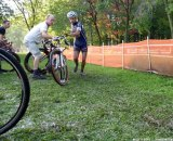 Nick Keough comes in for a bike handoff. © Cyclocross Magazine