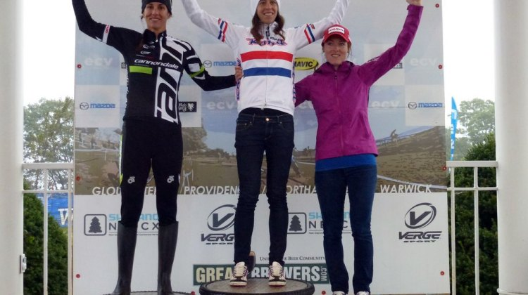Duke, Wyman and Day on the elite women's podium day 2 of Gloucester. Cyclocross Magazine