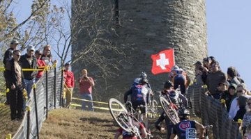 The tower at Granogue, and the hordes of cyclists charging up it at last year's race.