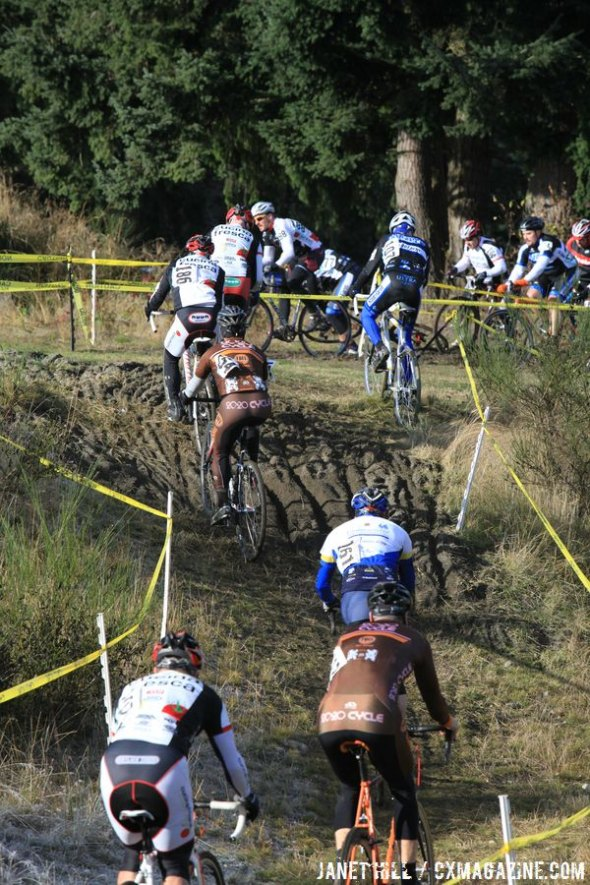 Riders head into the run-up mudpit. Janet Hill