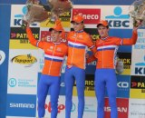 The U23 men's podium at Koksijde. Thomas van Bracht