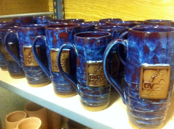 The finished beer steins, ready to be handed out as prizes. Tim Humbert