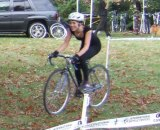 Cindy, rocking a black dress for her first cyclocross race.
