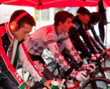 Jordan Cullen and some of the other Juniors warm up under the team tent in Bredene 2011. ©tomrobertsonphoto.com