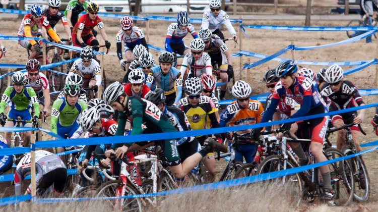 Pile-up on the first lap of the men's 15-16 race. ©Brian Nelson