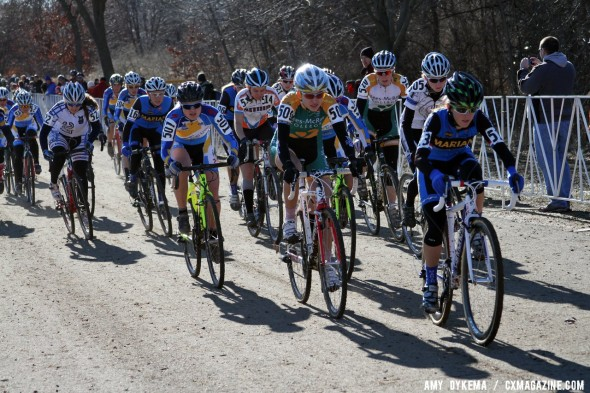 Collegiate women fight for the holeshot - 2012 Cyclocross National Championships. ©Amy Dykema