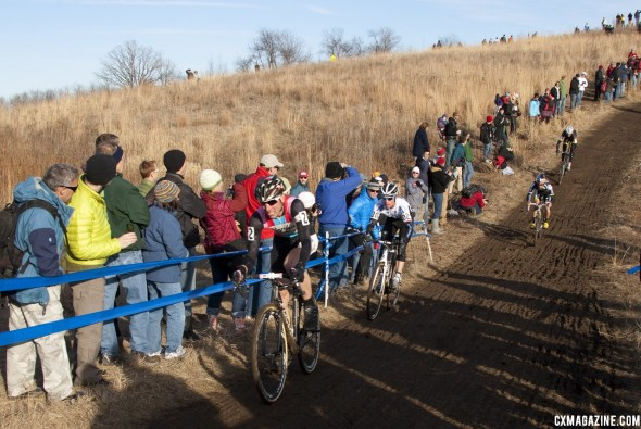 Powers leads Page, Johnson and Trebon down the main descent. ©Cyclocross Magazine