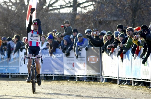Jeremy Powers (Team Rapha-Focus) showing relief and disbelief as he finally wins the Elite Men National Cyclocross Championship. ©Tim Westmore