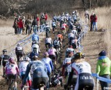 The Elite Women fight for the best lines up the first hill. © Cyclocross Magazine