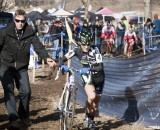 Kaitlin Antonneau grabs a clean bike from cyclocross guru Stu Thorne on her way to an Elite silver and an U23 gold.. © Cyclocross Magazine
