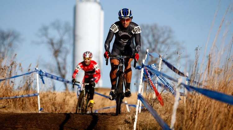 Weston Schempf leads Brian Wilichoski early on in the Masters Men 35-39 race at the 2012 Cyclocross National Championships. ©Tim Westmore