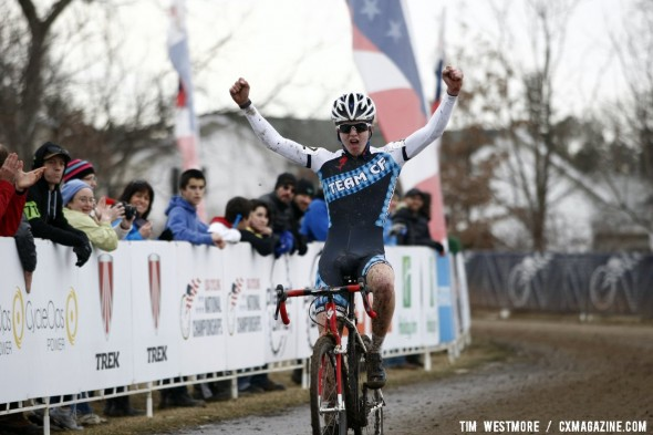 Austin Vincent wins the Junior Men 15-16 2012 Cyclocross National Championships, ahead of his teammate Goguen. © Tim Westmore