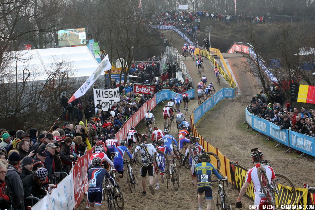 The early lap congestion proved critical in separating the lead riders from the rest in Koksijde at the 2012 Cyclocross World Championships. ©Bart Hazen