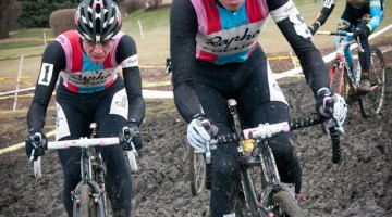 Jones, Powers and Myerson push through the mud. Liz Farina Markel